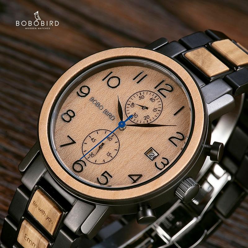 Relogio Masculino BOBO ptak zegarek mężczyźni Top luksusowe ze stali nierdzewnej drewniane zegarki reloj hombre wspaniałe prezenty dla człowieka darmowa grawerowanie w Zegarki kwarcowe od Zegarki na  Grupa 1