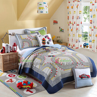 Handmade Kids Patchwork Cotton Quilt 2PCS Washed Cotton Quilts Bed Sheet Racing Car Printed Bed Cover