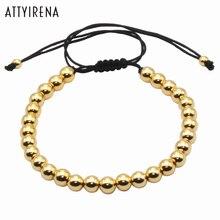 Brading Macrame Men Bracelets Gold Color 6MM Round Beads Wrap Handmade Bead