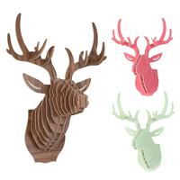 3D DIY Puzzle Wooden Model Wall Sticker Hanging Elk Deer Head Home Decoration Animal Wildlife Sculpture Figurines Art Crafts