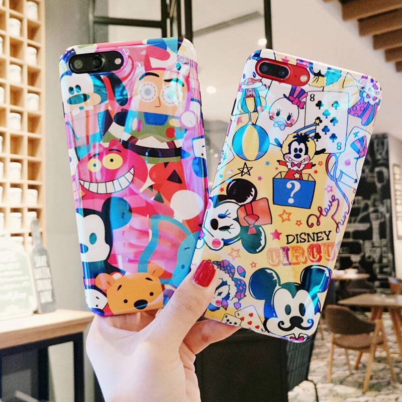 For iPhone X Fashion Mickey Minnie Mouse Blue Light Case For iPhone 6 6s 7Plus 8P Soft TPU Silicon Cartoon Cute Back Phone Case