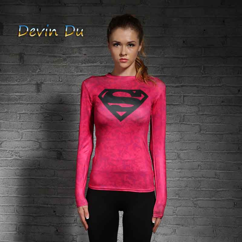 High quality Women   T  -  shirt   Bodys Marvel costume Superman   T     Shirt   Long Sleeve Girl Fitness Tights Compression tshirts
