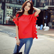 original shirt female summer new 2017 new fashion temperament short sleeve loose red blouse women wholesale