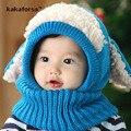 Nuevo Invierno Cálido Algodón de Los Niños Bufanda Sombrero Del Bebé de la Alta Calidad de Punto Gorros Casual Solid Caps for Kids Tamaño Libre