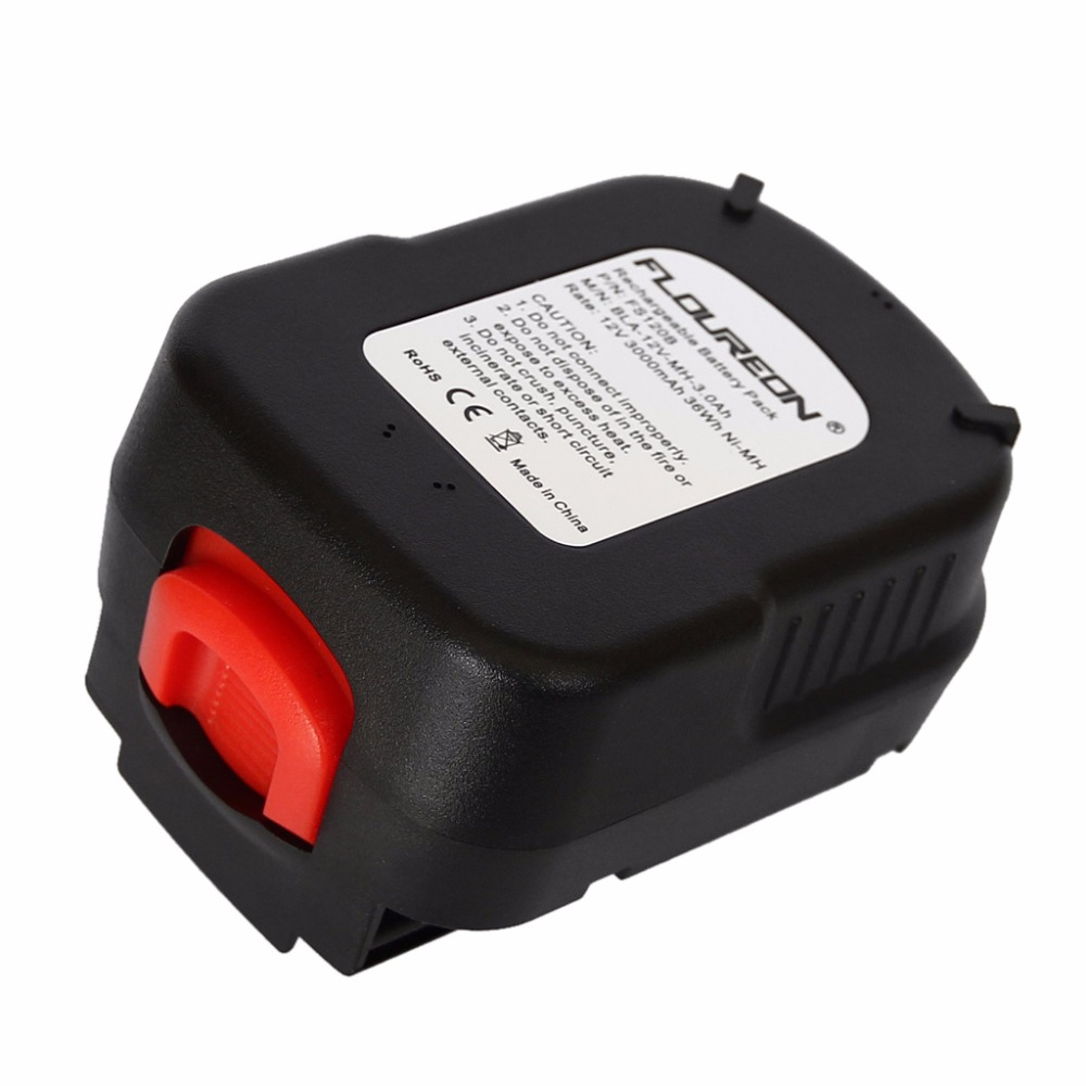 FLOUREON For BLACK & DECKER 12V 3000mAh Ni MH Drill