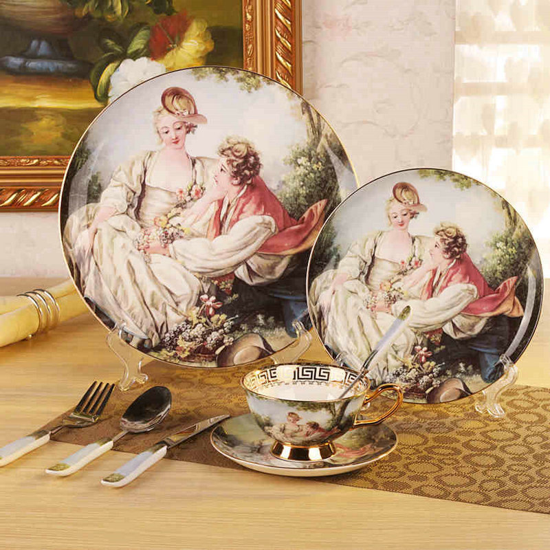 High Quality Porcelain Bone China Dinner Set Ceramic Dishes And Plates Sets Oil Painting Romeo-and Juliet