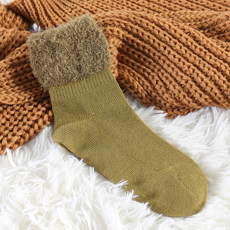 Women Snow Socks  Winter Solid Patchwork Keep Warm Calcetines Breathable Thick Casual Mid Socks Female Simple