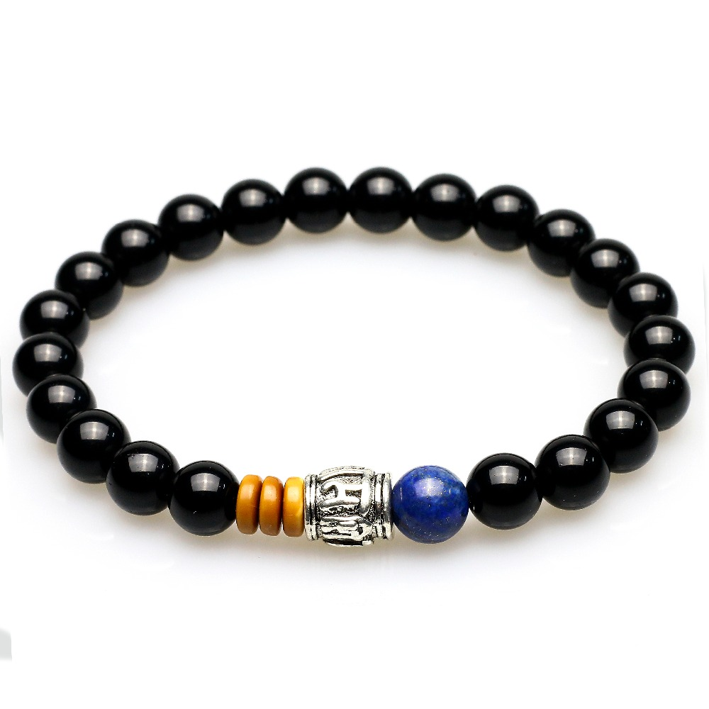 Natural Black Onyx with Lapis Lazuli Stone Beaded Men Woman Bracelet Coconut Shell Mantra Prayer Beads Buddha Bracelets Jewelry
