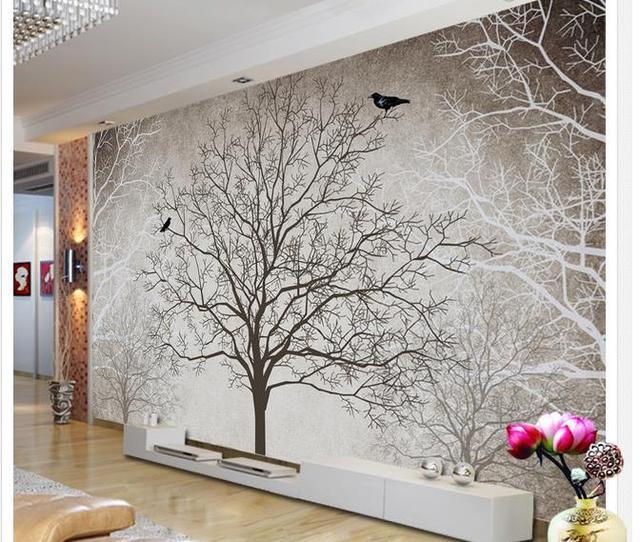 Papel pintado del rbol blanco y negro papel pintado mural for Papel pintado aislante termico