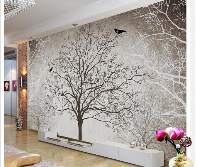 Wallpaper black and white tree wallpaper mural wallpapers for Black tree mural