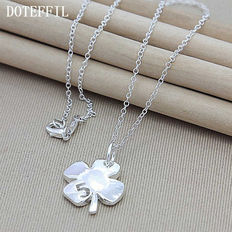 Free Shipping New Necklace Glossy Flower And 925 Silver Color Heart Four Leaf Clover Lucky Pendant Necklace Jewelry