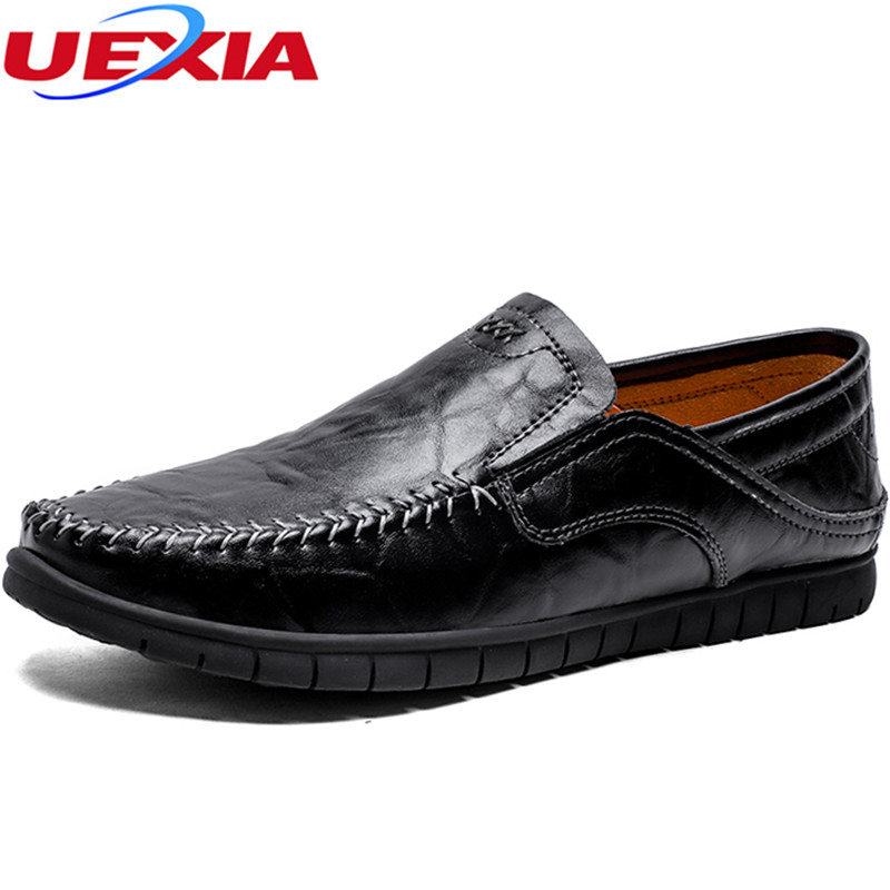 UEXIA New Flats Summer Breathable Men Shoes Men Casual Leather Slip On Fashion Handmade Soft Comfortable Loafers Driving shoes handmade summer men shoes fashion breathable casual driving men s shoes leather low slip on loafers soft flats zapatos hombres