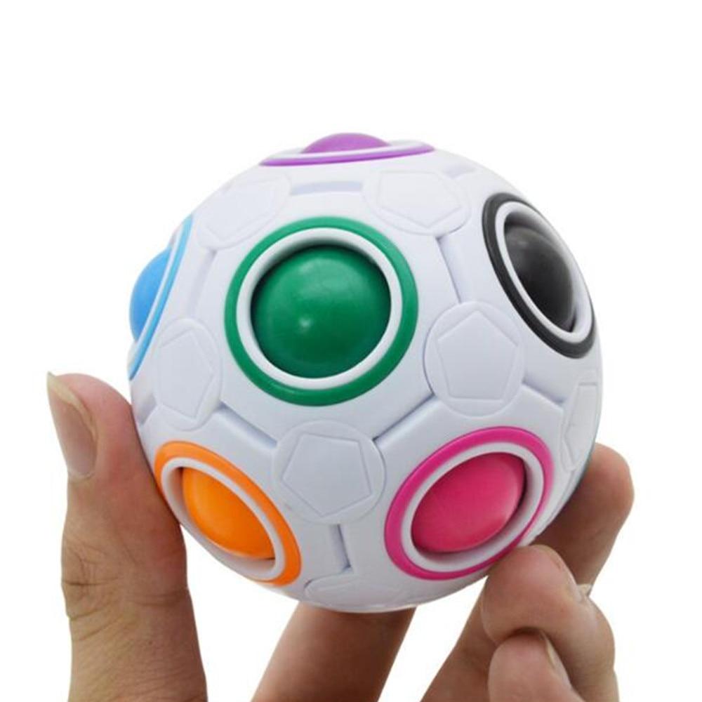 все цены на Fun Creative Spherical Magic Cube Speed Rainbow Football Ball Children Kids Spherical Magic Cube Learning Education Puzzle Toys