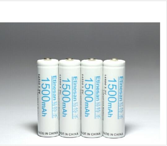 4 pcs Etinesan 3.2v 1500mAh 14500 AA LiFePo4 lithium rechargeable battery Flashlight, camera, shaver, radio, remote control, цены онлайн