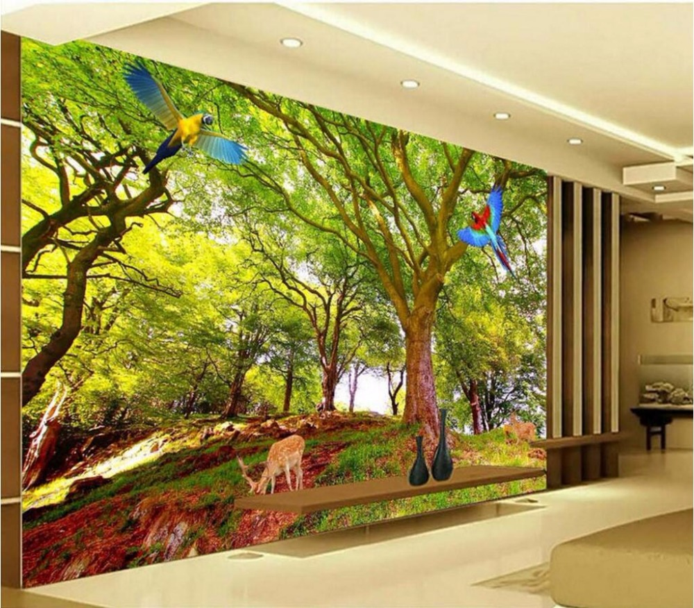 Custom mural picture 3d room wallpaper tree parrot elk for Custom mural wallpaper