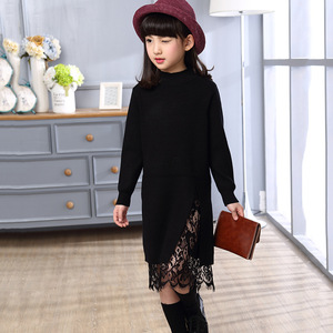 Image 5 - New girl children winter sweater dress lace stitching split long turtleneck knitted kids girls long sleeves dress party clothes