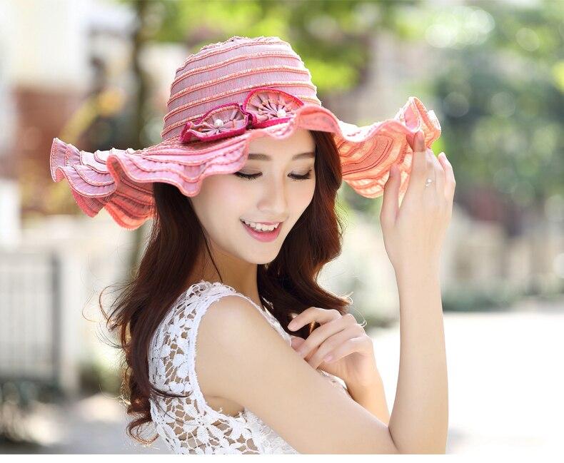 6fc89c76f81 Summer Sun Hat For Women Uv Sunscreen Folding Beach Hats Elegant ...