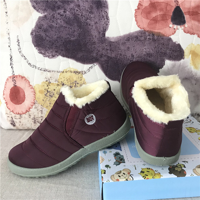 Thời trang Giữ Ấm Không Thấm Nước Trượt trên Trọng Lượng Nhẹ Phụ Nữ Tuyết Khởi Động Giày Phụ Nữ Mắt Cá Chân Khởi Động Mùa Đông Phẳng 35 49 Cộng Với Kích Thước giày
