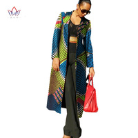 Printed Private Tailor Custom Made Full Sleeve Long Trenh COat Casul Africa Wax Trech Slim Design