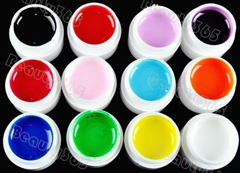 New 12 Pure Color Nail Art UV Gel Solid For Builder Polish Lamp 2018 Wholesale