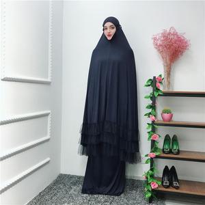 Image 4 - 2 조각 여자기도 Hijab 복장 두바이 이슬람교 Khimar Jilbab 오버 헤드 Abaya 의류 라마단 치마 Kaftan 단색 세트 이슬람교
