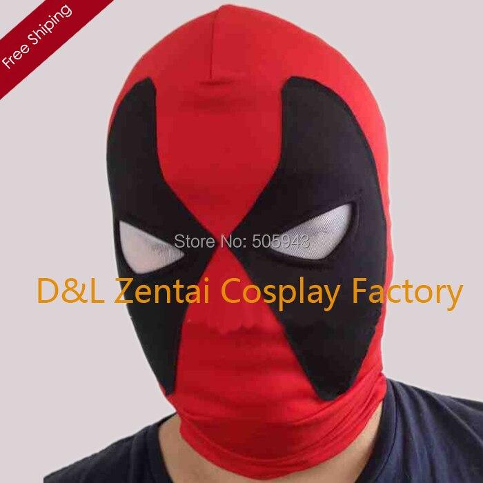 Free Shipping DHL Drop Shipping Halloween Lycra Spandex Zentai Superhero Red Black Deadpool Mask White Eyes MK-02