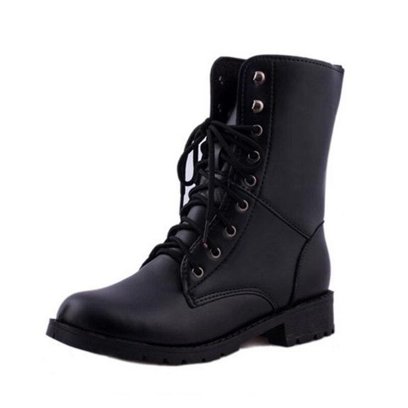 Elegant NEW Women Classic Vintage Military Combat Retro Style Low Heel Ankle Boots