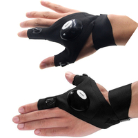 LED Light Outdoor Multifunctional Fishing Gloves Right And Left Hand 2 Fingers LED Night Fishing Gloves