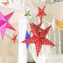 Christmas 30/45/60cm 3D Star Paper Lampshade Wedding Pub Hanging Decor Lampshade Home Hotel Lampshade(China)
