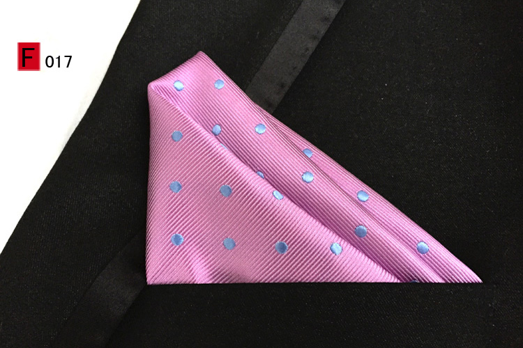 25x25cm Top Fashion Pocket Square Pink With Blue Dots Handkerchief For Gentlemen