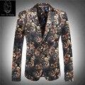 Combinación precio 2017 nueva llegada de los hombres traje de boda de lujo de alta calidad de dicha cantidad de pana chaqueta de Los Hombres de impresión tamaño de la flor M LXL2XL3XL