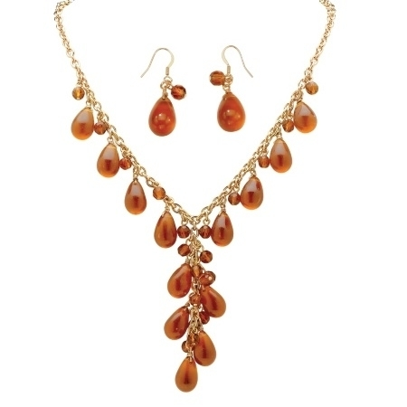 PalmBeach Jewelry 48720 Pear-Shaped Amber Beaded Y Necklace and Drop Earrings Set