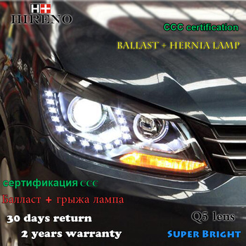 Hireno Headlamp for 2010-2015 Volkswagen Touran Headlight Assembly LED DRL Angel Lens Double Beam HID Xenon 2pcs