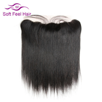Soft Feel Hair Brazilian Straight Frontal 13x4 Ear To Ear Lace Frontal Closure With Baby Hair Free Part Non Remy Human Hair