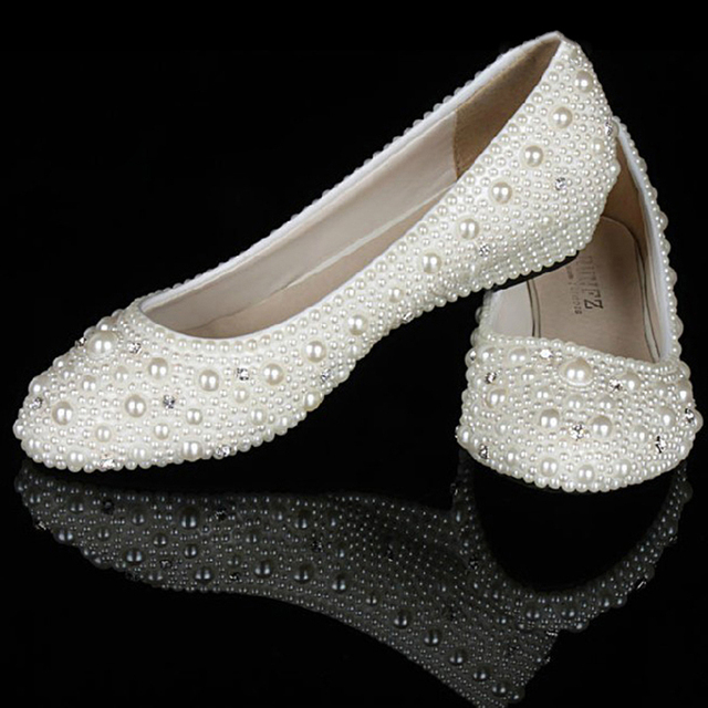 Ivory Pearl diamonds 1 Inches wedge heels party shoes bridal wedding ...