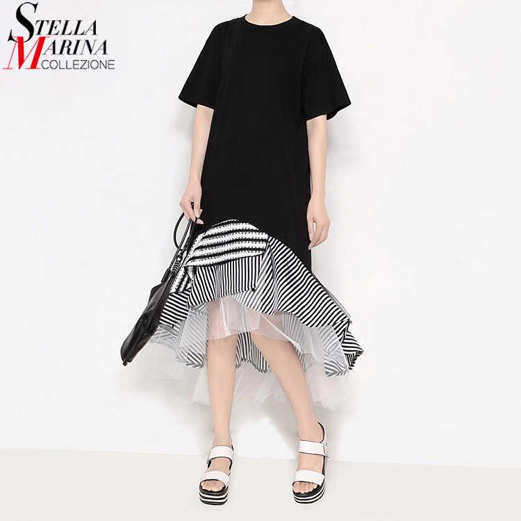 2019 женское летнее черное платье с оборками в стиле пэчворк, Полосатое платье с подолом, стильные женские милые миди повседневные свободные платья 2529