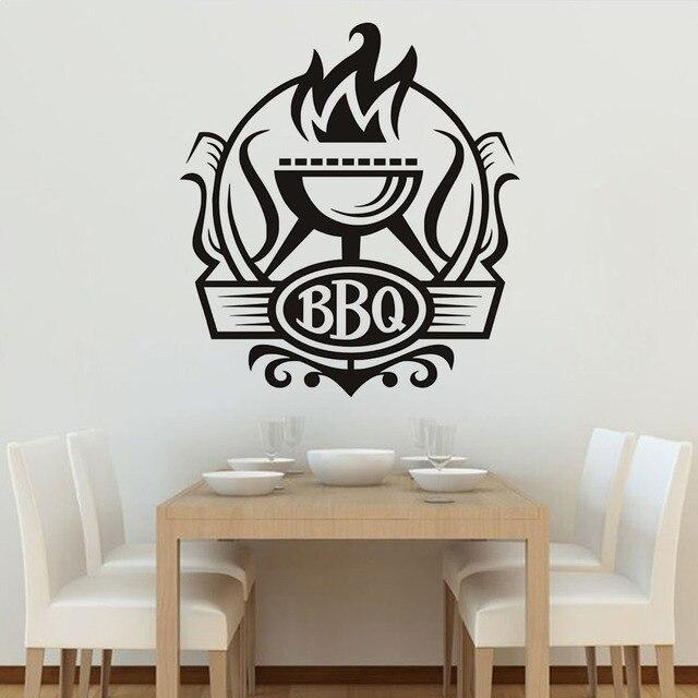 Keuken Muur Decoratie.Cuisine Bbq Badge Diy Muurstickers Keuken Muur Poster Vinyl