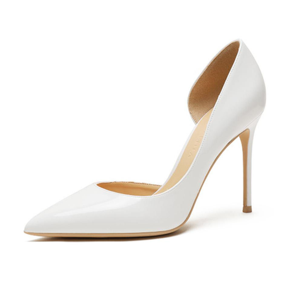 Free shipping white ivory patent leather pointed front toe office lady 8cm 10cm high heel shoes