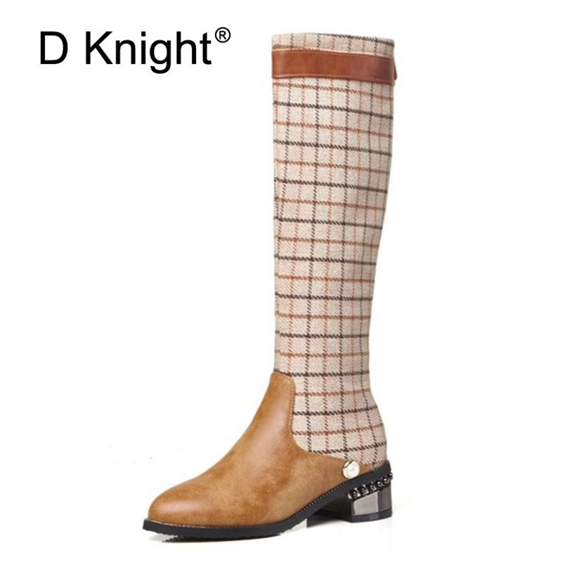 Big Size 32-48 T-Show Women Knee High Boots Shoes Autumn Winter Fashion Plaid Riding Boots British Style Back Zip Lady Boot Shoe zip up back plaid cami with shorts