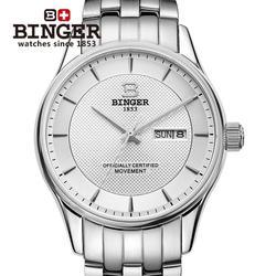 Szwajcaria męskie zegarki na rękę luksusowe marki zegarki BINGER luminous mechaniczne zegarki na rękę pełne nierdzewne stalowe wodoodporne B5008