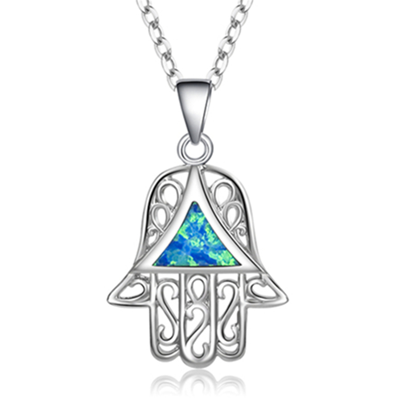 HANZHOWEEL Women s Fashion Bohemia Style Jewelry Blue Fire Opal Pendant Girl Silver Pendant Necklace Triangle