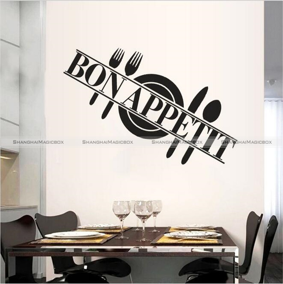 Aliexpress Buy Kitchen Dining Room Decor Bon Appetit Word Decal Removable Vinyl Wall Sticker 43916192 From Reliable Stickers Colors Suppliers On