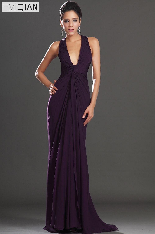 Free Shipping New Adorable Halter Dark Purple Evening Dress