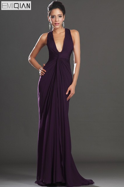 Free Shipping New Adorable Halter Dark Purple Evening Dress-in ... 5d24555b0530