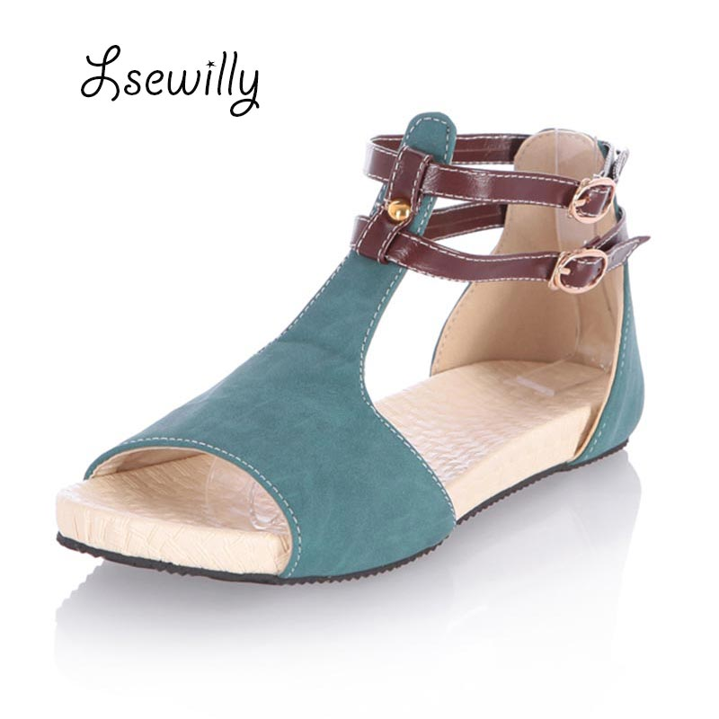 Lsewily 2017 Sweet T-strap Sandals Women Summer flat heel Women Shoes Open Toe buckle strap Casual Shoes Plus Size 34-43 S893 2017 new arrival hot sale fashion summer sweet women flats heel sandals casual buckle strap roman sandals flat flat women shoes