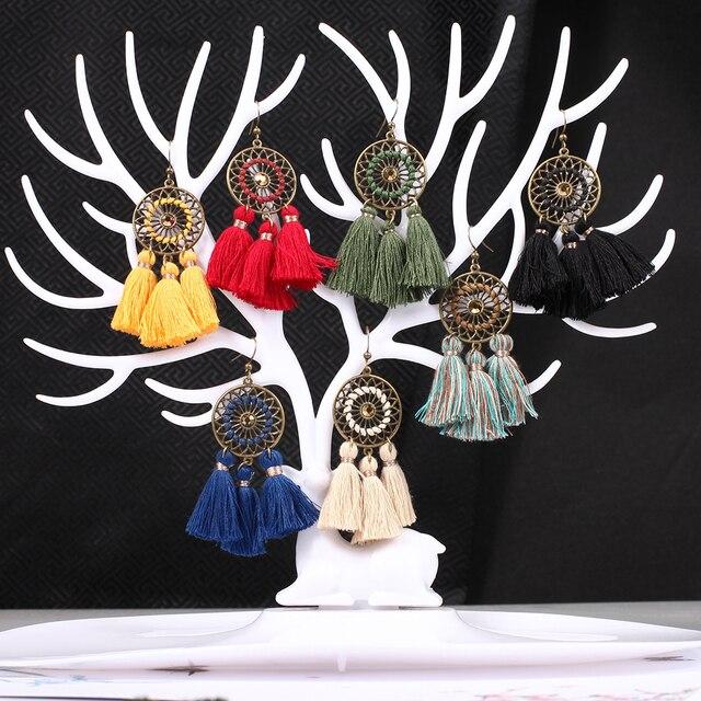 c80127a69b8f Vintage Boho étnico Bohemia borla hecha a mano pendientes para las mujeres  2019 mujeres pendientes colgante pendiente accesorios de la joyería de  regalo