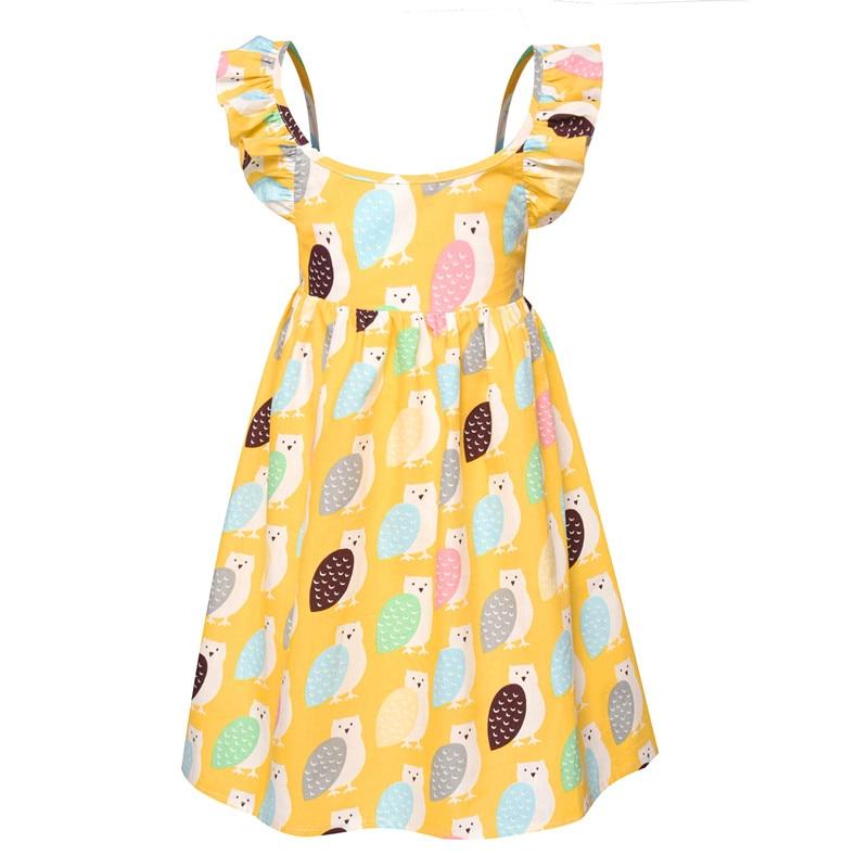 2018 Summer Beach Style Girls Dress Sleeveless Cartoon Print Party Backless Kids Dresses For Girls Casual Princess Dress 2-7Yrs girls cartoon print dress