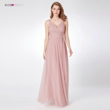 Blush Pink Bridesmaid Dresses Ever Pretty EP07303 Sweetheart A-line V-hals Ermeløs Wedding Party Dress Elegant for kvinner