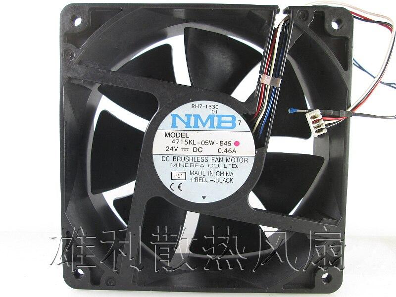 NMB-MAT 4715KL-05W-B46 P91 Server Square Fan DC 24V 0.46A 120x120x38mm 3-wire nmb 3610kl 05w b49 9225 24v 3 wire cooling fan blower