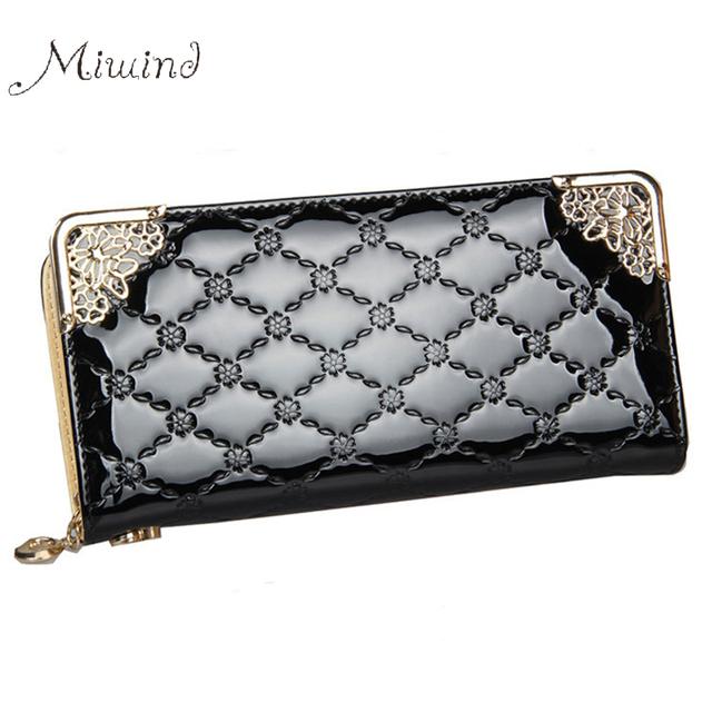 Luxury Vintage Brand Women Long Patent Leather Plaid Wallet Female Clutch Ladies Phone Purse Coin Credit Card Holder Cuzdan